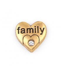 Floating Charm 3D Hart Family Goud -