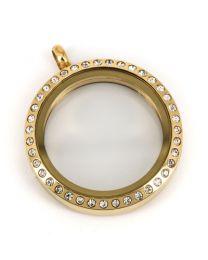 Memory Locket Medaillon Goud Kristal 30mm (RVS/Edelstaal) -