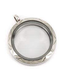 Memory Locket Medaillon Twist met Hoek Patroon 30mm (RVS/Edelstaal) -