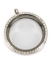 Floating Locket Medaillon Kristal XL 34mm (RVS/Edelstaal) -