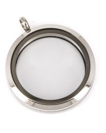 Floating Locket Medaillon XL 34mm (RVS/Edelstaal) -