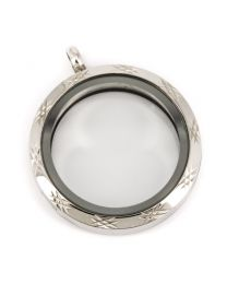 Memory Locket Medaillon Twist met Ster Patroon 30mm (RVS/Edelstaal) -