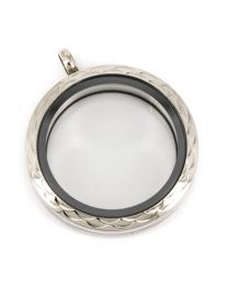 Memory Locket Medaillon Twist met Bochten Patroon 30mm (RVS/Edelstaal) -