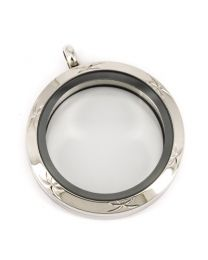 Memory Locket Medaillon Twist met Palm Patroon 30mm (RVS/Edelstaal) -