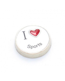Floating Charm I Love Sports -