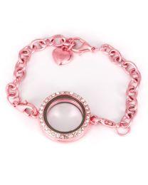 Memory Locket Armband Kristal Strass Licht Roze 25 mm -