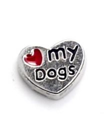 Floating Charm Hart Love My Dogs -