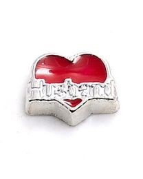 Floating Charm Rood Hart Husband -