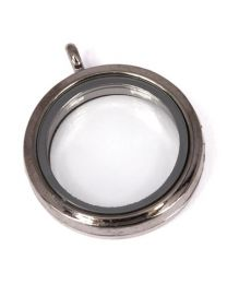 Floating Locket Medaillon Antraciet 30mm -