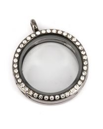 Floating Locket Medaillon Antraciet Kristal Strass 30mm -