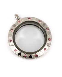 Memory Locket Medaillon Twist met Patroon 28 mm (RVS/Edelstaal) -