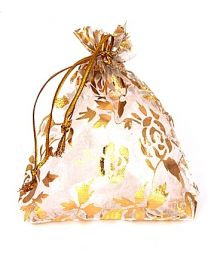Cadeau Verpakking Klein Wit met Gouden Rozen -