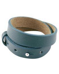 Cuoio Lederen Armband Dubbel Breed Petrol Blue Green -