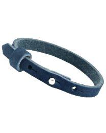 Cuoio Lederen Armband Smal Dark Carbon Blue -