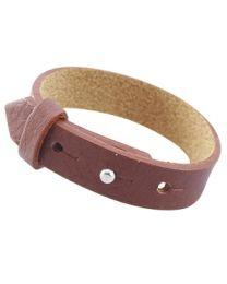 Cuoio Lederen Armband Breed Dark Copper Brown -