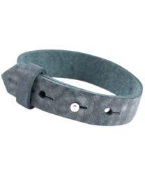 Cuoio Lederen Armband Breed Antique Blue -