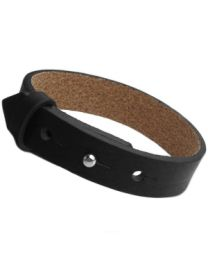 Cuoio Lederen Armband Breed Black -