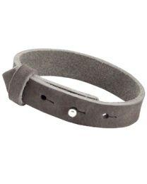 Cuoio Lederen Armband Breed Dark Grey -
