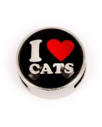 Cuoio Slider I Love Cats Zwart -