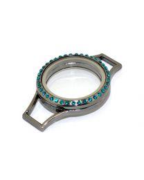 Memory Locket (voor de Lederen Armband) Antraciet met Blauwe Kristal 30mm -