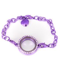 Memory Locket Armband Kristal Strass Paars 25 mm -