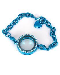 Memory Locket Armband Kristal Strass Turquoise (25 mm) -