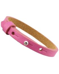Cuoio Lederen Armband Smal Hot Pink -