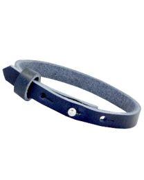 Cuoio Lederen Armband Smal Deep Blue -