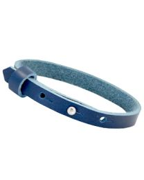 Cuoio Lederen Armband Smal Dark Jeans Blue -