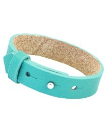 Cuoio Lederen Armband Breed Flash Turquoise Green -