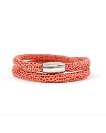 Story Armband Dubbel Roze / Rood Slangenprint -