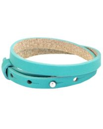 Cuoio Lederen Armband Dubbel Smal Flash Turquoise Green -