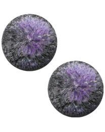 Cuoio Cabochon met Slider - Polaris Perseo Crushed Ice Black Purple Matt 20mm -