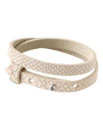 Cuoio Lederen Armband Dubbel Smal Reptile Beige -