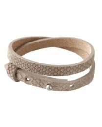 Cuoio Lederen Armband Dubbel Smal Reptile Natural Medium Brown -