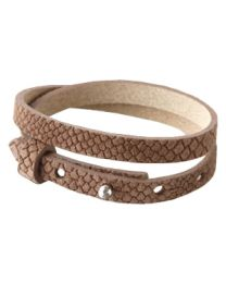 Cuoio Lederen Armband Dubbel Smal Reptile Classic Brown -