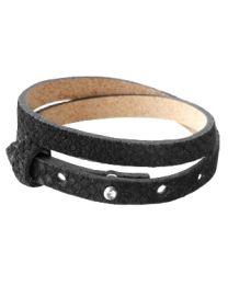Cuoio Lederen Armband Dubbel Smal Reptile Black -