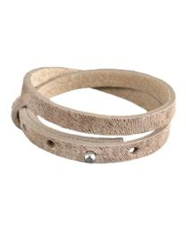 Cuoio Lederen Armband Dubbel Smal Leopard Natural Medium Brown -