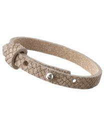 Cuoio Lederen Armband Smal Reptile Natural Medium Brown -