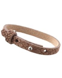 Cuoio Lederen Armband Smal Reptile Classic Brown -