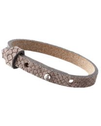 Cuoio Lederen Armband Smal Reptile Taupe Grey -