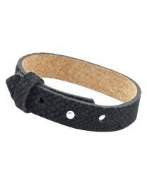 Cuoio Lederen Armband Breed Reptile Black -