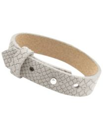 Cuoio Lederen Armband Breed Reptile Greige -