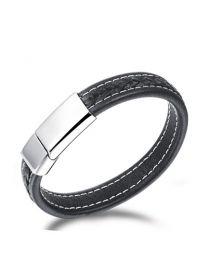 Heren Armband Leer Bruin met Staal magneetsluiting 21cm -