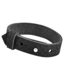 Cuoio Lederen Armband Breed Reptile Vintage Black -