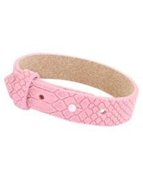 Cuoio Lederen Armband Breed Reptile Candy Pink -