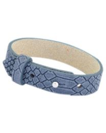 Cuoio Lederen Armband Breed Reptile Light Denim Blue -