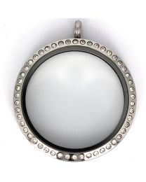 Floating Locket Medaillon Kristal XXL 39mm (RVS/Edelstaal) -