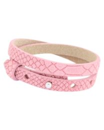 Cuoio Lederen Armband Dubbel Smal Reptile Candy Pink -
