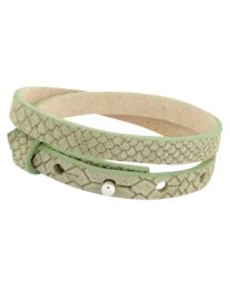 Cuoio Lederen Armband Dubbel Smal Reptile Light Army Green -